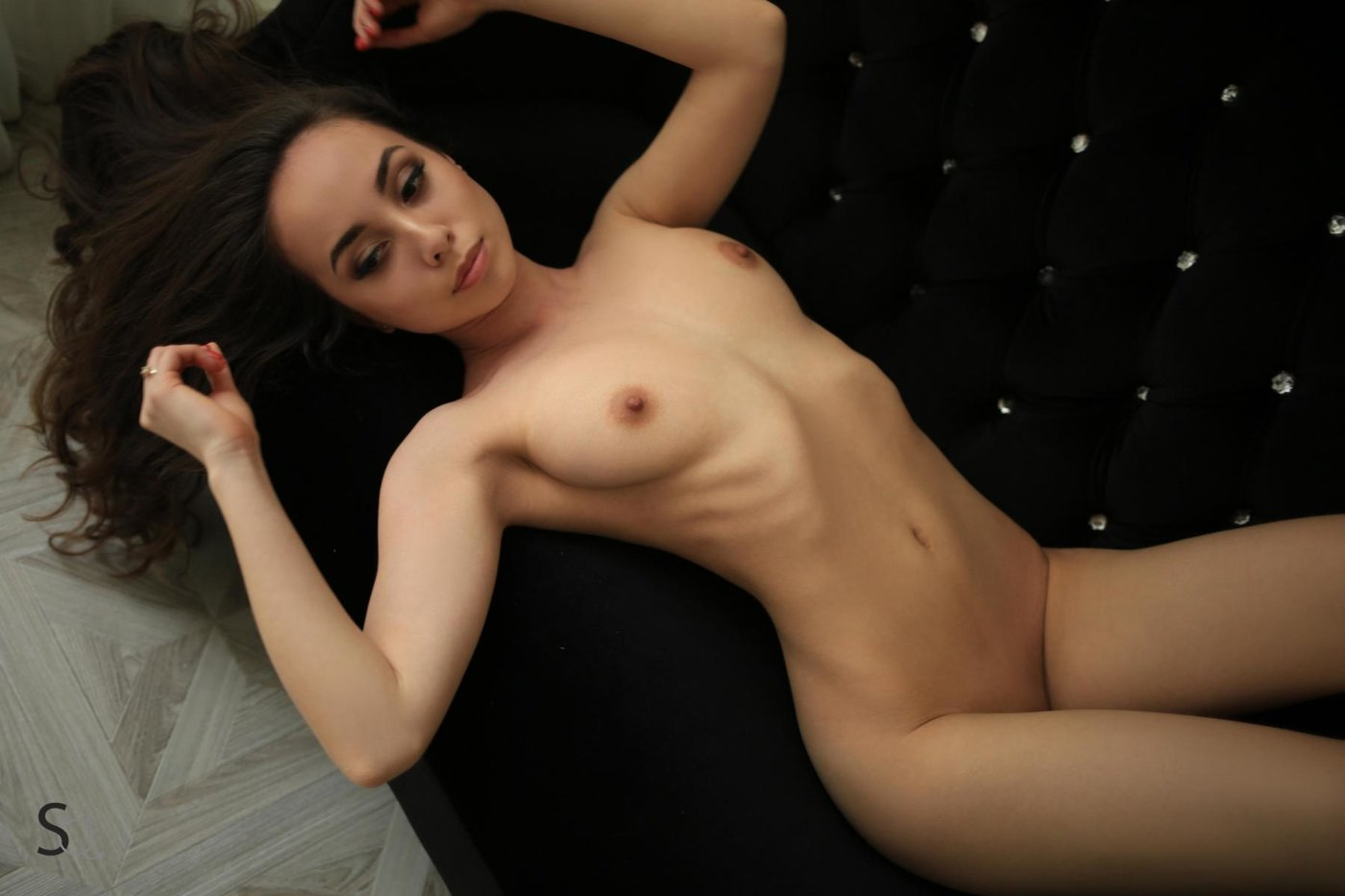 Long haired brunette with a big dildo 5