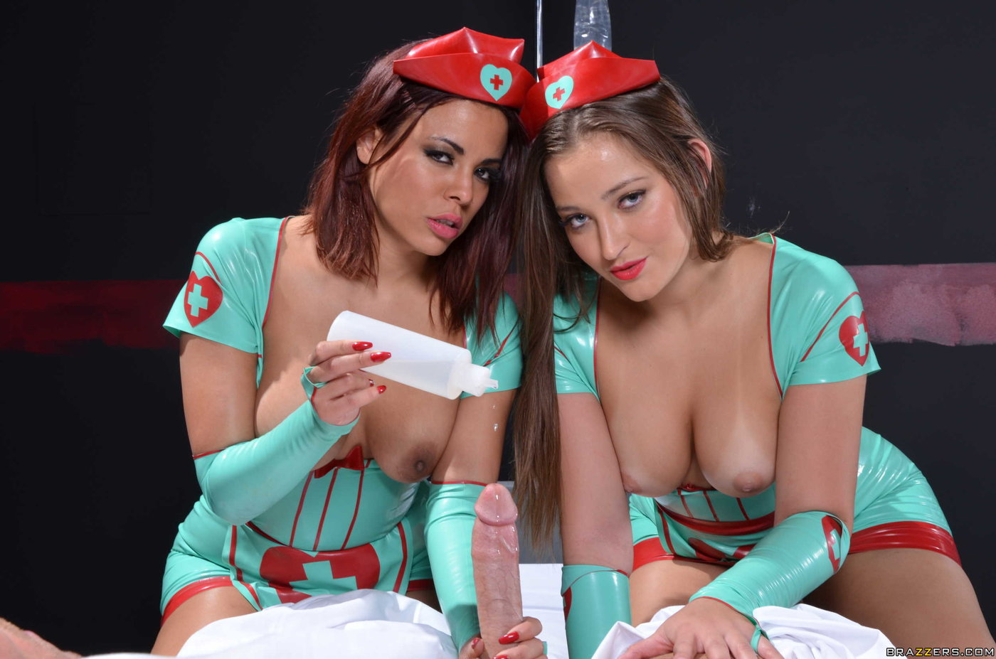 Latex get-up horny nurse and her GF double-teaming a hung dude