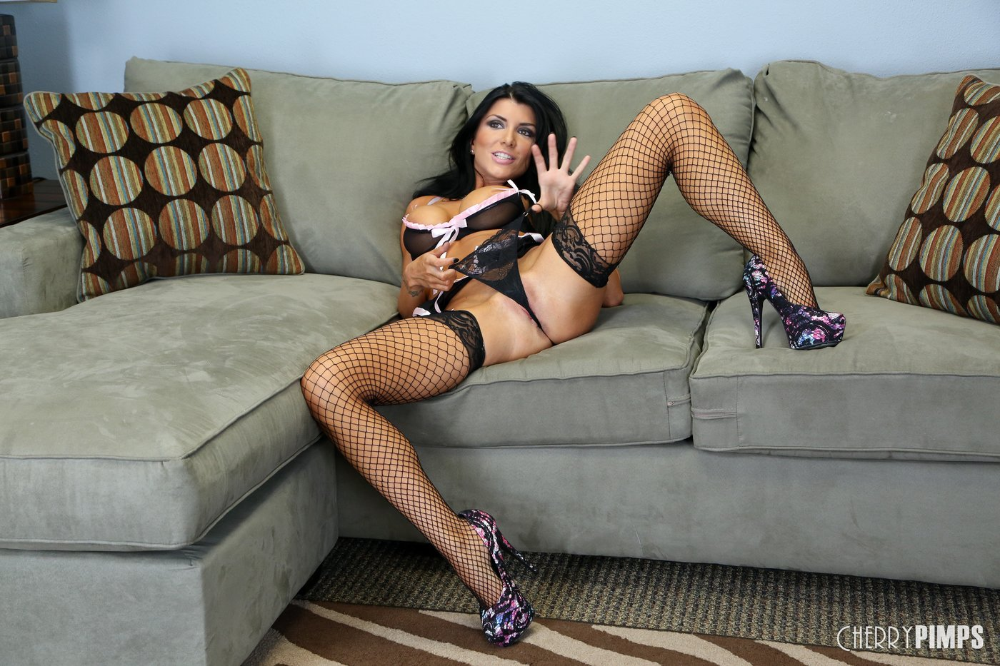 Milf Brunette With Massive Tits And Fishnet Stockings -3127