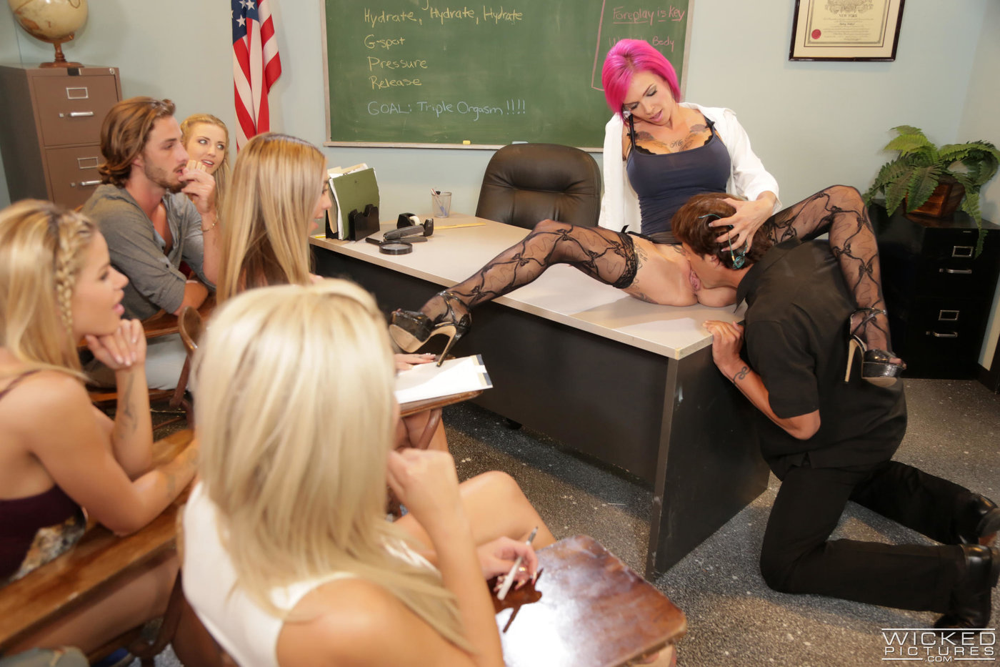 Pink-haired and stockings-clad teacher getting pounded in the class room