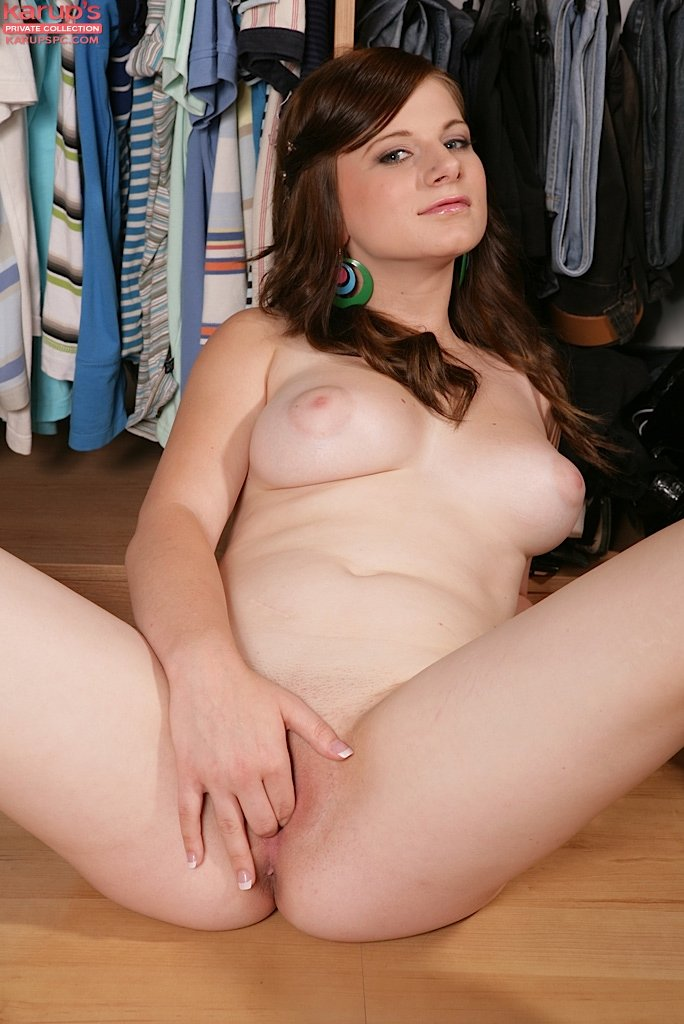 Charlotte: Cute-looking Redhead Showing Off Her Smooth Pussy On The Floor