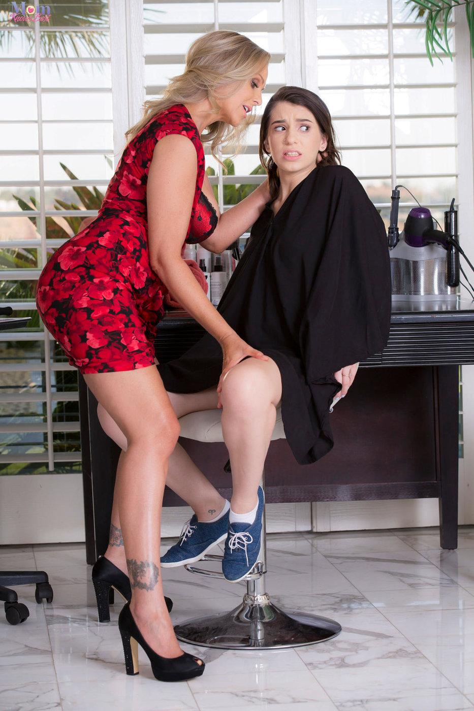 Dress Wearing Blonde Milf Hairdresser Fucks A Dark Haired Teen Client