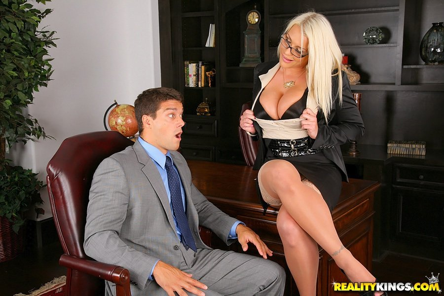 Stockings blonde gets to ride his cock and get her ass fingered