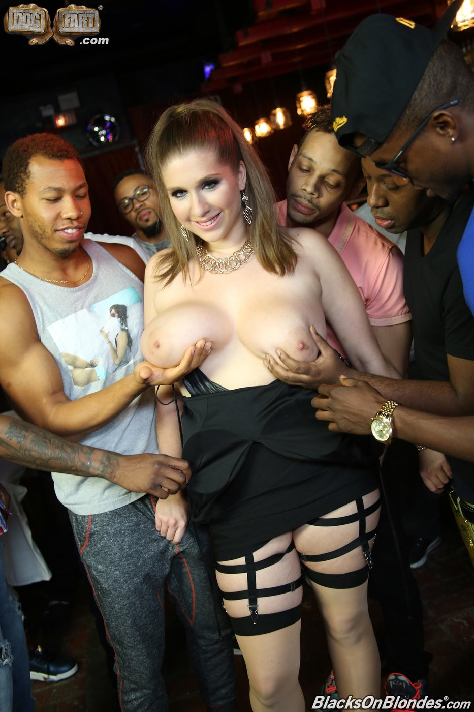 Pale-skinned brunette PAWG gets gang-banged by several black dudes -  IamXXX.com